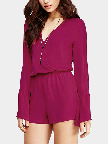 V Neck Bell Sleeve Playsuit in Magenta