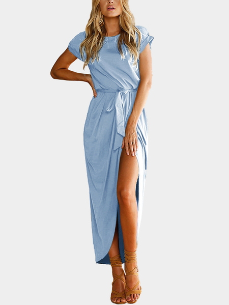 Light Blue Short Sleeves Splited Hem Maxi Dress