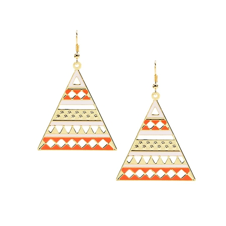 Gold Plated Triangle Shape Dangle Drop Earrings