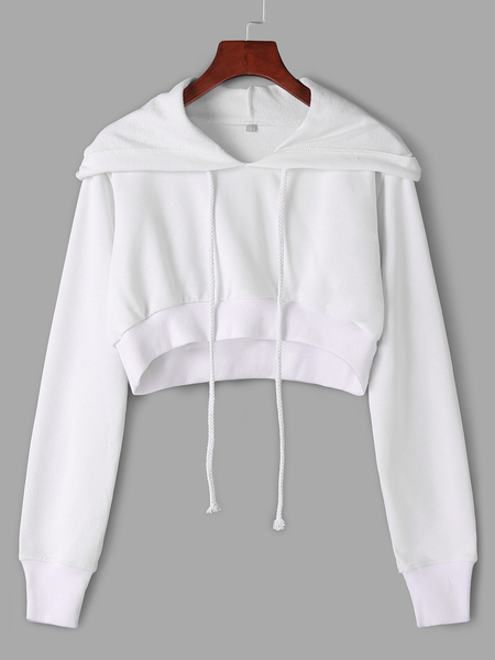 Active Round Neck Cut Out Drawstring Waist Sports Hoodies in White