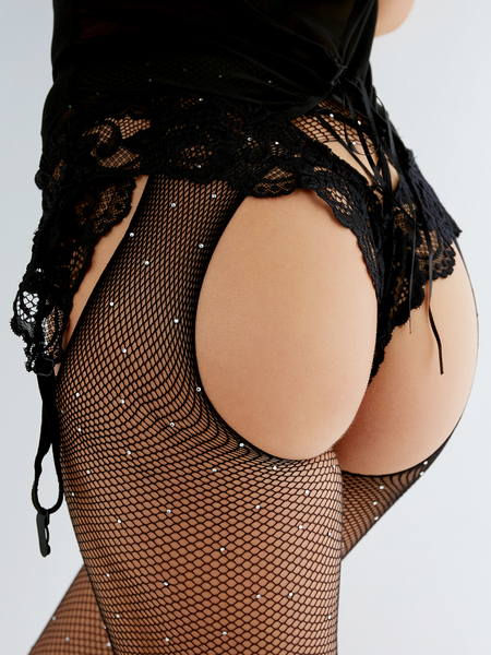 Black Pokla Dot Cut-out Design Fishnet Stocking