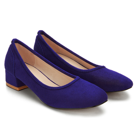 Blue Suede Square Toe Chunky Heeled Shoes