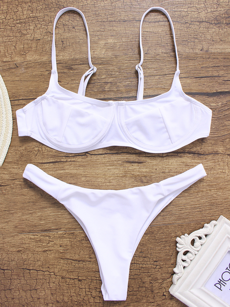 White V-neck High-waisted Bikini Set