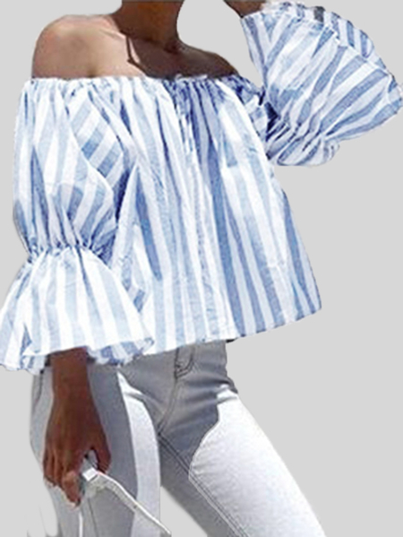 Blue & White Stripe Pattern Off Shoulder Flared Sleeves Loose Fit T-shirt