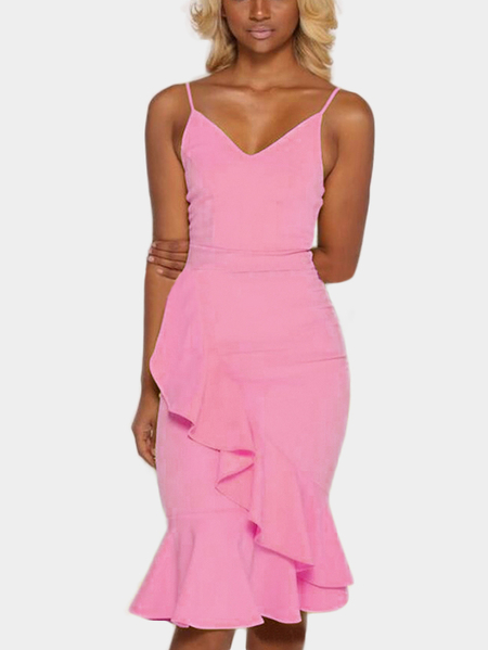 Pink Sexy V Neck Seleeves Dress With Irregular Hem