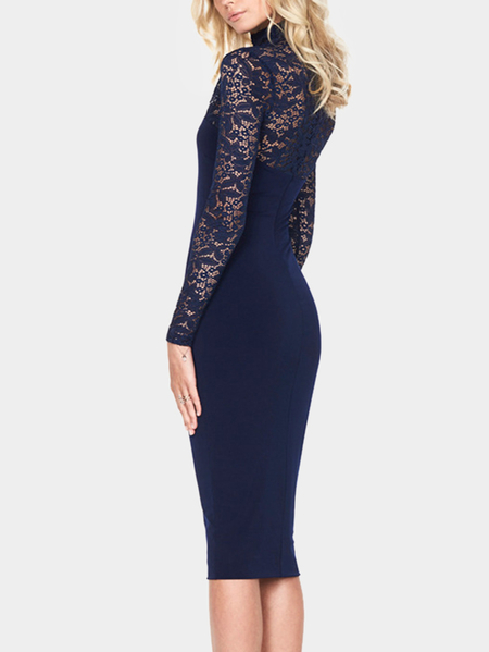 Navy Party Lace Midi Dress With Perkins Collar