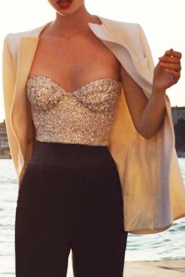 Cropped Bralet in Sequins
