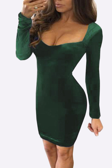 Dark Green Long Sleeves Velvet Mini Bodycon Dress