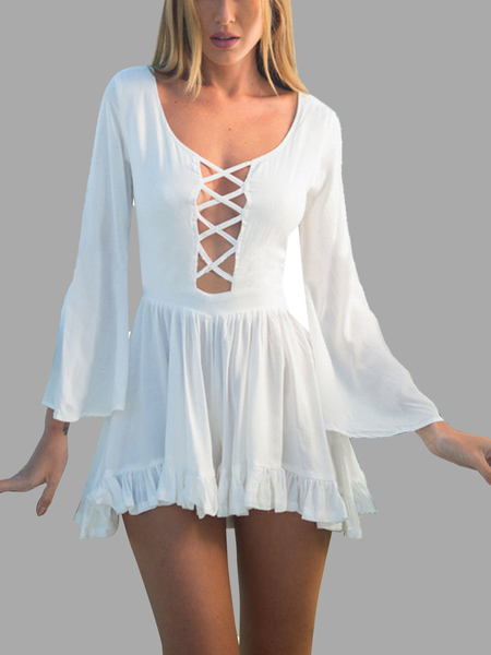 Hollow Out V-back Playsuit in White