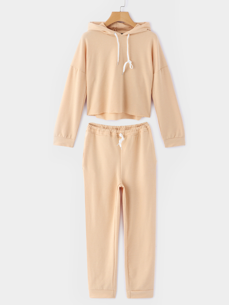 Beige Hooded Design Plain Stretch Waistband Two Piece Outfit