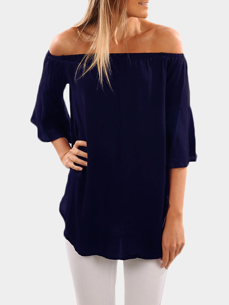 Navy Off The Shoulder Bell Sleeved Top