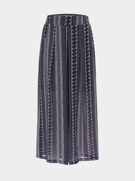 Bohemian Print Stretch Waistband Wide Leg Trousers