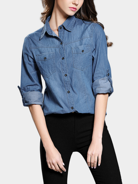 Dark Blue Lapel Neck Long Sleeves Blouse