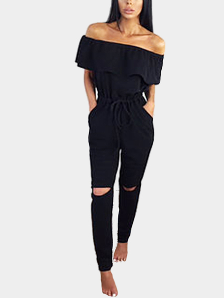 Black Off Shoulder Drawstring Waist Side Pockets Jumpsuit with Rips Details