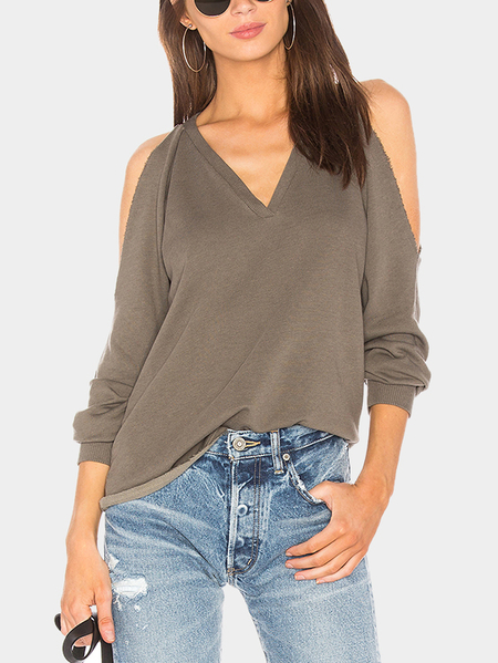 Khaki Plain Cold Shoulder Long Sleeves Blouses