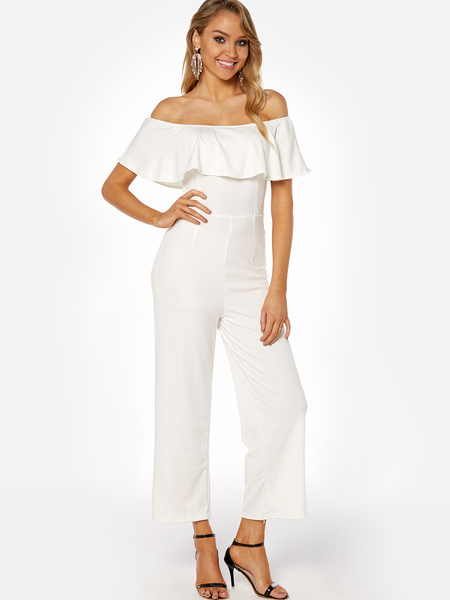 White Backless Design Off-the-shoulder Overlay Plain Jumpsuit