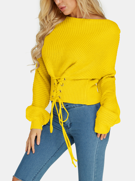 Yellow Lace-up Design Bateau Knitted Sweaters