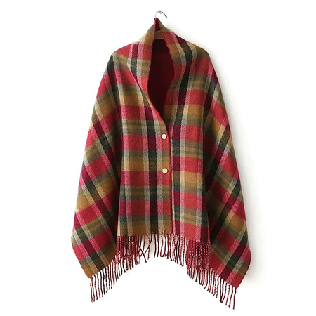 Red Plaid Button Detail Fringe Hem Cape