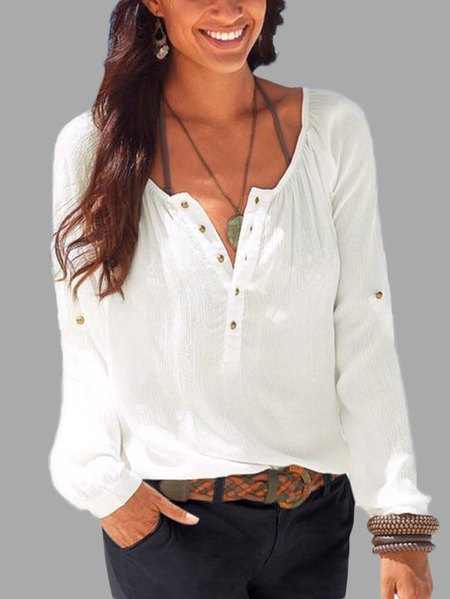 White Button Design Plain Round Neck Long Sleeves T-shirt