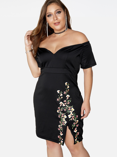 Plus Size Black Floral Print Off The Shoulder Slit Hem Dress