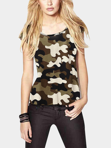 Casual Short Sleeves Camo Print Tees