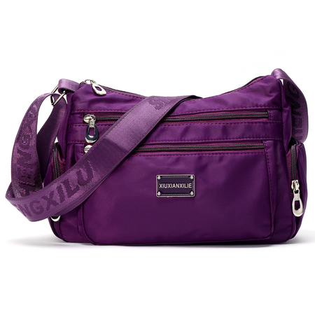 Purple Fashion Multi Pocket Crossbody Bag