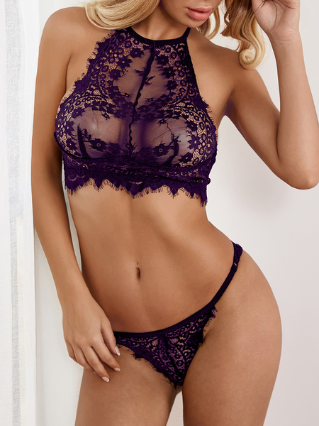 Purple Sexy Delicate See-through Eyelash Trim Halter Lingerie Set without Stockings