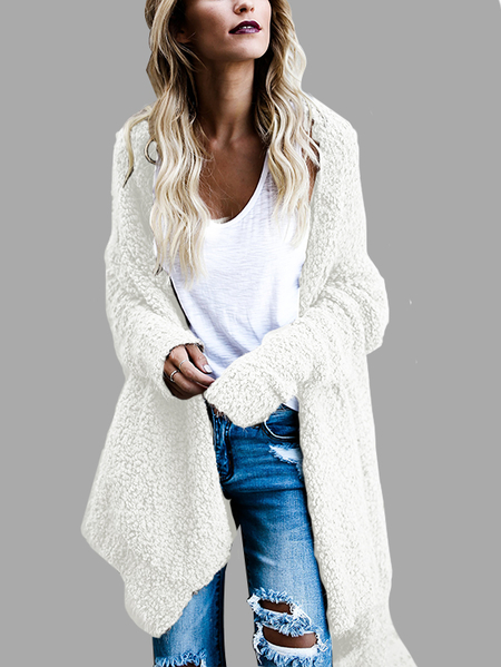 White Open Front Two-way Wear Irregular hem Cardigan