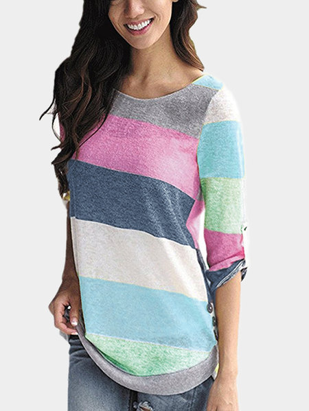 Blue Random Stripe Round Neck Long Sleeves T-shirt