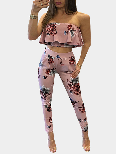 Random Floral Print Strapless Crop Top & Trousers