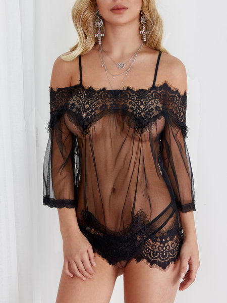 Schwarz Sexy Mesh Lace Dessous Top