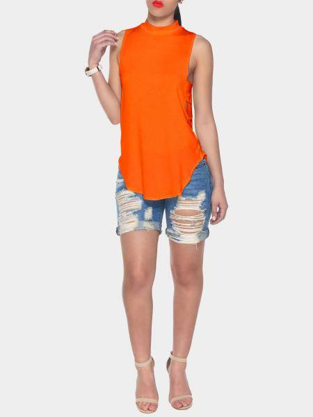 Orange Halter Neck Cut Out Back Vest with Curved Hem