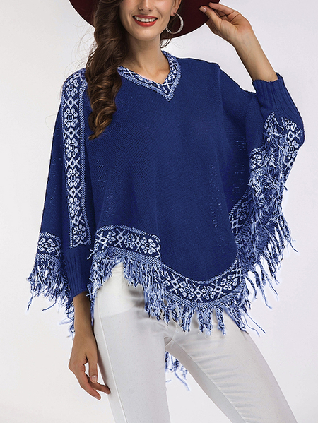Blue Cape Design Tassel V-neck Bat Sleeves Sweater