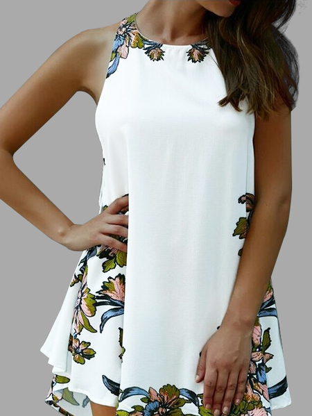 White Floral Print Open Back Lace-up Design Sleeves Irregular Hem Dress