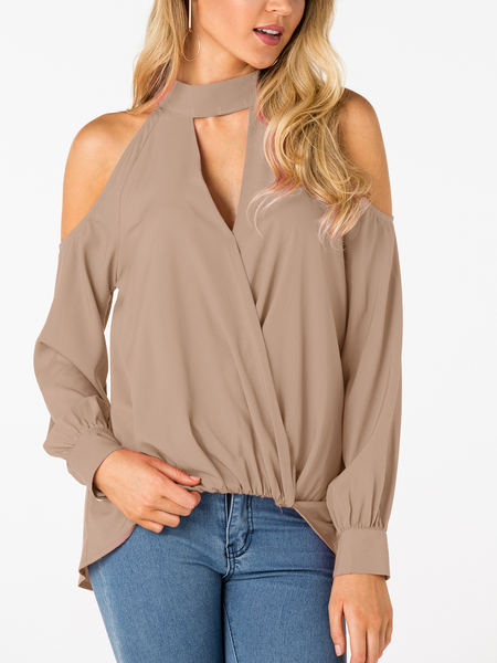 Khaki Crossed Front Design Cold Shoulder V-neck Lantern Sleeves Top