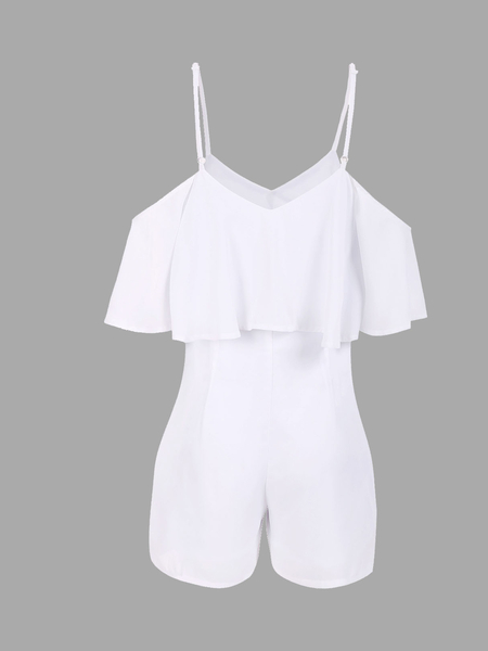 White Cold Shoulder V-neck High Waist Playsuit