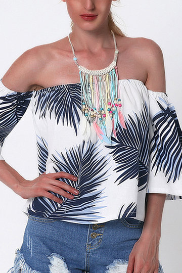 Off The Shoulder Random Leave Print Tops