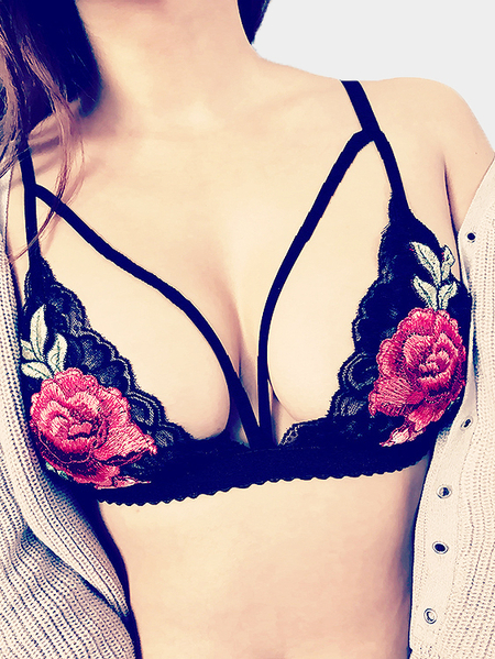 Black Deep V-neck Floral Embroidered Lace Lingeries