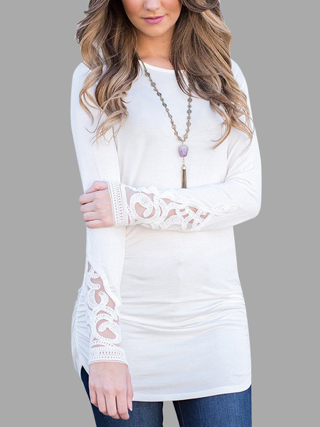 White Lace Details Cuffs T-shirt Dresses