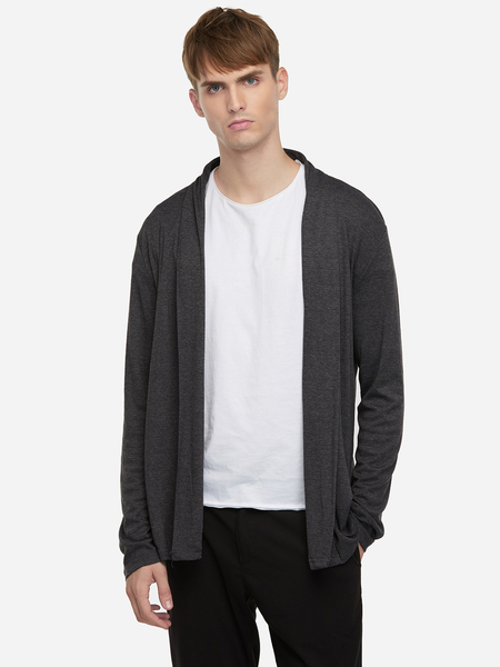 Dark Gray Occasion Style Plain Shawl Collar Long Sleeve Men's Cardigan Sweater