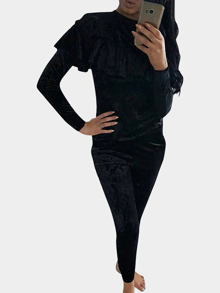 Black Crushed Velvet Flounced Design T-shirt + Sweatpant Bundle