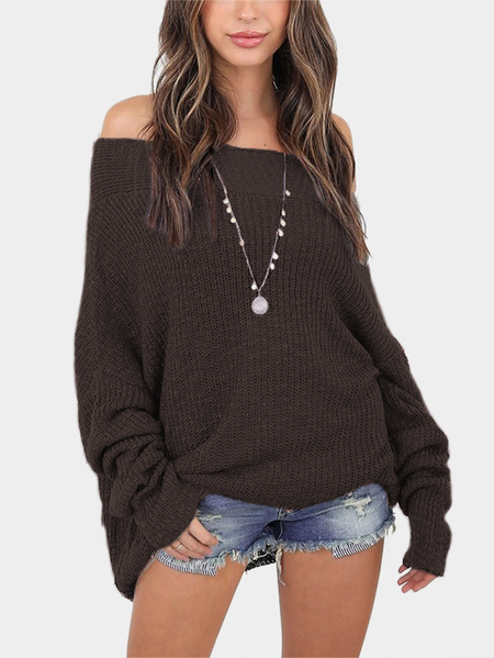 Khaki Off The Shoulder Long Sleeves Loose Plunge Sweaters