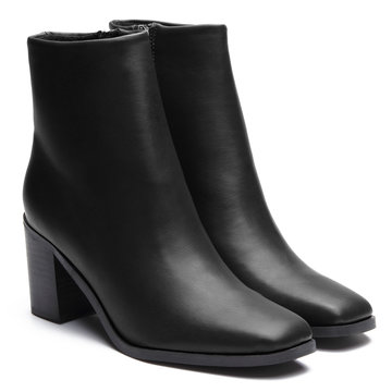 Black Leather-look Chunky Heels Short Boots