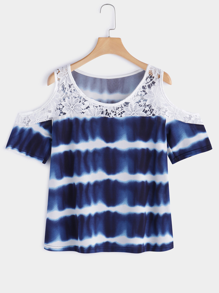 Blue Lace Details Wave Parttern Cold Shoulder Design Short Sleeves Blouse