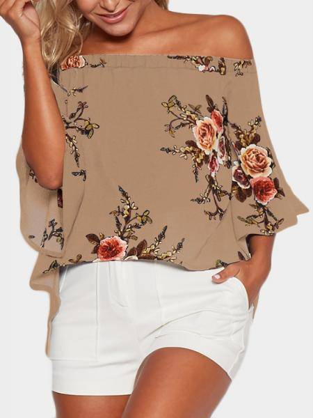 Random Floral Print Off Shoulder Splited Blouse in Khaki