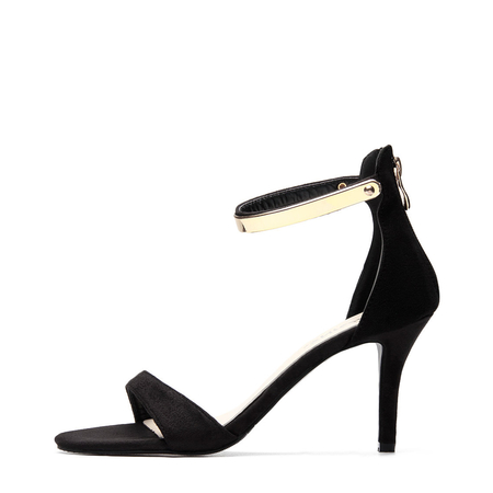 Gold Ankle Strap Zipper Back High Heel Suede Sandals in Black