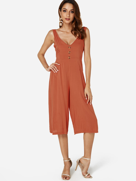 Orange Backless Design V-neck Sleeveless Jumpsuit