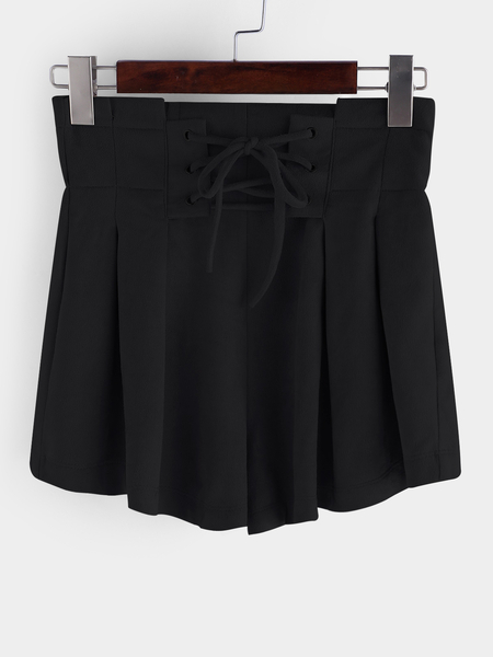Black Lace-up Design High-waisted Shorts