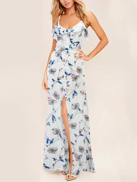 White Random Floral Print Slit Design Cut Out Back Boho Maxi dress