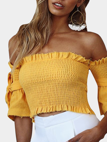 Yellow Shirring Off Shoulder Short Sleeves Crop Top